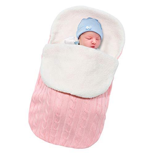 Basumee Neugeborenes Baby Gestrickt Wickeln Decke Säuglinge Baby Pucksack Winter Plüsch Schlafsack für 0-12 Monat für Kinderwagen, Babybett, Babykorb (Rosa)