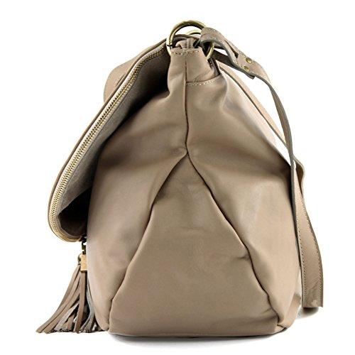 modamoda de - ital. Ledertasche Damentasche Schultertasche Umhängetasche Nappaleder T40 Braunbeige Large