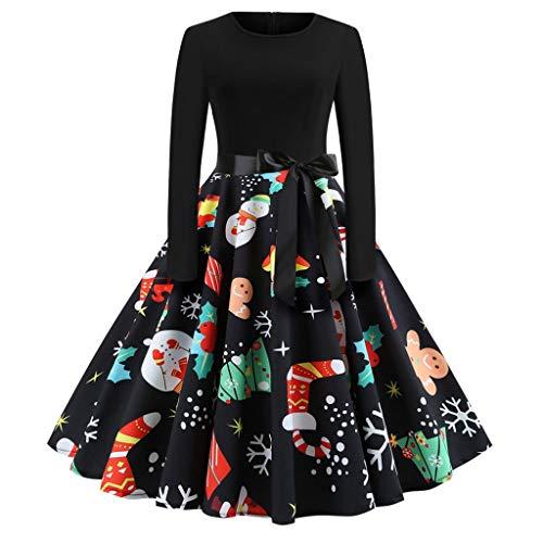 836194a53003 Vestito Donna di Gonna Natale A Abito Sweaters A Stampa Vestito Pieghe  Inverno Signore Abito Abiti