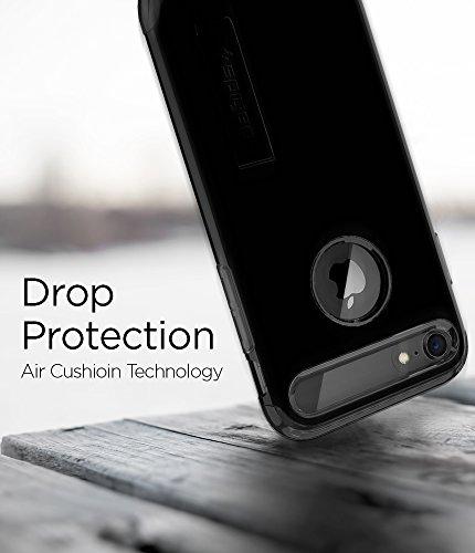 iPhone 7 Hülle, iPhone 8 Hülle, Spigen® [Slim Armor] Integrierter Kickstand [Gunmetal] Luftpolster-Technologie an den Kanten / 2-teiliges Case Schutzhülle für Apple iPhone 7 / iPhone 8 Case Cover - Gu jet black