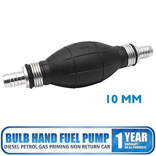 HugeAuto - Pompa manuale, 10 mm, per carburante diesel e benzina, colore nero