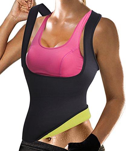 Rolewpy Damen sweat neopren-taillen-trainer hot abnehmen sauna weste bauch-steuer body shaper für weight loss XX-Groß (paßt wie us 18) 02. schwarz gym tops