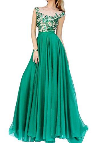 La_mia Braut Herrlich Spitze Chiffon Abendkleider Partykleider Abiballkleider Bodenlang A-linie Festlich Grün