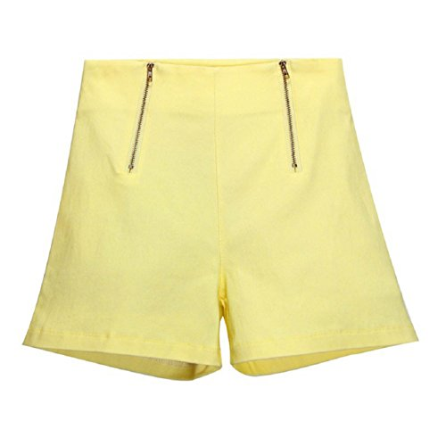 Malloom® Sommer Frauen Mädchen Hot Pants hohe Taille Reißverschluss Beiläufige Kurze Hosen (S, gelb) (Prana-wolle Pullover)