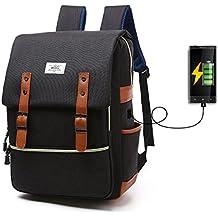 Mochila Dacron Para Computadora Para Estudiante Espacio Para Colocar Cable USB, Uso General (Caballeros y damas) Escuela Comercio Viaje Negro