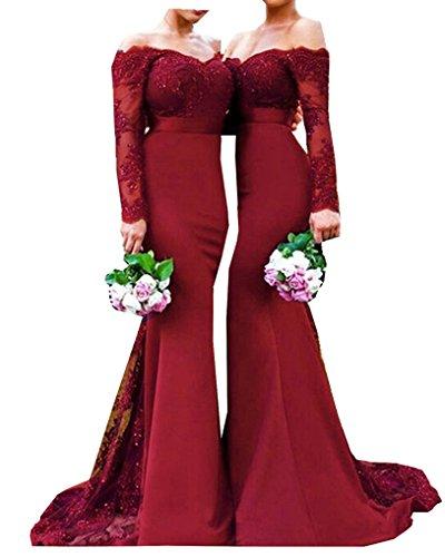 Langes Hülsen-Abend-Kleid-Schatz-Spitze-Nixe-Brautjunfer-Kleid-Art 10 Wein-Rot US8 Red Abend Langes Kleid
