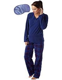 Ladies Soft Warm Winter Cosy Fleece Long Rabbit Pyjama Set