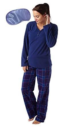 Ladies Warm Winter Fleece Long Rabbit Pyjama with Lilac Eye Mask (Check) 10-12