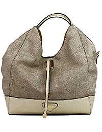 Bolso saco tejido plata metalizado