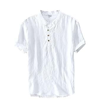 Icegrey Camicia Uomo Camicie di Lino a Maniche Corte Henley Shirt Top Pullover Estive Camicia Bianco 42