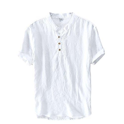 Icegrey camicia uomo camicie di lino a maniche corte henley shirt top pullover estive camicia bianco 52