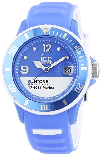 ICE-Watch - PAN.BC.MAR.U.S.13 - Pantone Universe - Marina - Montre Mixte - Quartz Analogique - Cadran Bleu - Bracelet Silicone Bleu