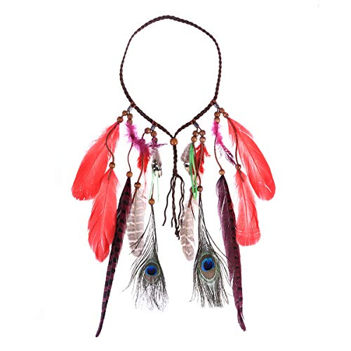 Frcolor Diadema de plumas Boho Indiana Hippie Hair Band Pavo real Toca