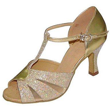 XIAMUO Nicht anpassbare Damen Tanzschuhe Latein/Swing Salsa/Samba Kunstleder/Stoff Stiletto Heel Schwarz/Silber/Gold Silber
