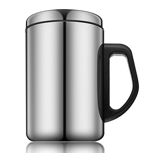 Edelstahl Isolierbecher 350/500 ml Kaffeebecher mit Griff und Deckel doppelwandig isoliert Kaffeetasse mit Deckel für heiße und kalte Getränke, Wie abgebildet, 350ml