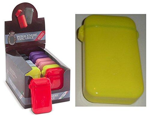 Ceniceros de bolsillo portátiles ASHTRAY pocket diferentes colores sello hermético colores brillantes (Yellow)