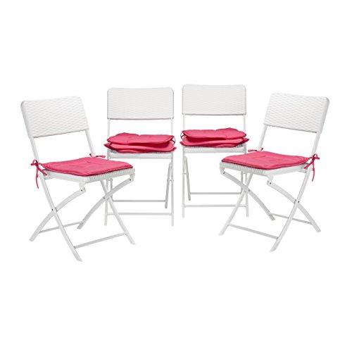 8x Stuhlkissen, Sitzkissen mit Schleife, Auflage für Stühle in Haus und Garten, waschbar,...