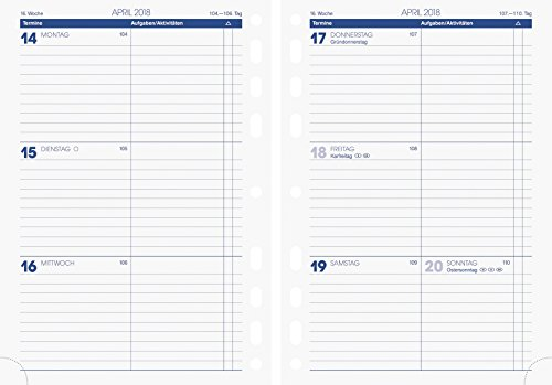 Brunnen 107910018 Zeitplansysteme/Ringbuchkalender/Timer Wochenkalendarium für rido/idé Timing 1, A 5, 148 x 210 mm, 2 Seiten = 1 Woche, Kalendarium  2019
