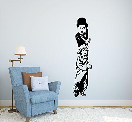 """Adesivo murale Charlie Chaplin: il monello"""" wall sticker Vinyl decal adesivo prespaziato in vinile design arredamento per decorazioni pareti e muri (LARGE 33 X 130 CM.) Adesivo4You ®"""