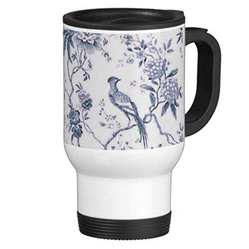Cute vintage blu e bianco uccello floreale 396,9gram tazza da viaggio in acciaio INOX