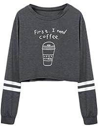 b45b2b75e76d Amlaiworld Frauen Locker Kaffee Drucken Kurz Sweatshirt Damen Bunt Mode  Bauchfrei Kapuzenpullover Warm Weich Herbst Winter