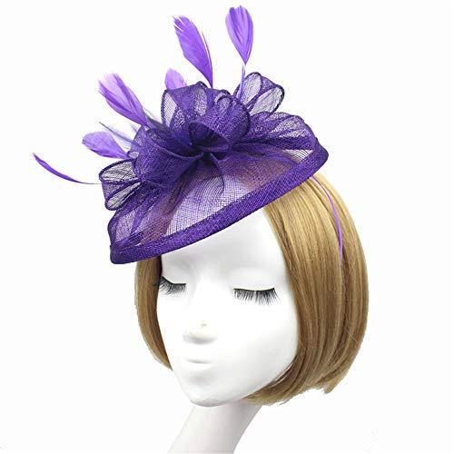 Wydm festa delle donne del cappello del cappello di halloween delle copricapo del fiore delle piume delle piume della maglia delle copricapi per il partito di tè del cocktail della sposa
