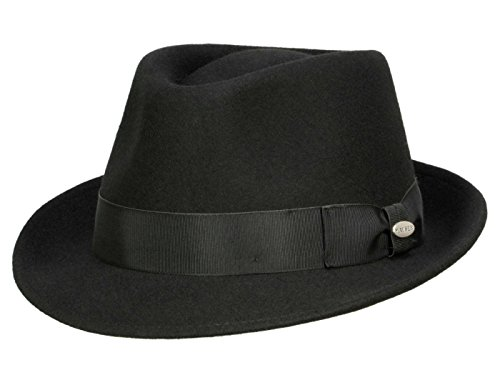 Für Wollfilz Hut Erwachsene (Mayser Troy Trilby Hut aus Wollfilz - schwarz)