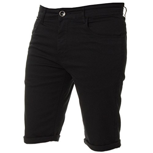 Kruze Mens Chino Shorts Branded Designer Jeans Casual Blue Black Red Tan, BNWT 32 Black