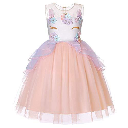 Mädchen Einhorn Kleid Kostüm Cosplay Party Outfit Kostüm Prinzessin Tutu Rock Festival Geburtstag Pageant Karneval Foto Shoot Halloween 2-7 Jahre (2-3 Jahre, Rosa)