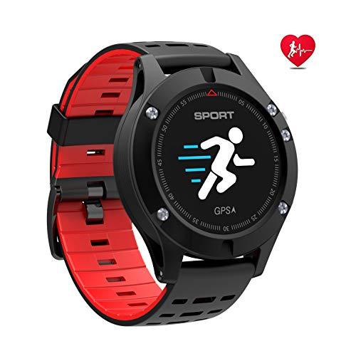 N NEWKOIN Smart Watches Wasserdichte GPS Sport Smart Uhr Fitness Armbanduhr Fitness Tracker Sportuhr Aktivitätstracker Bluetooth Smartwatches für Herren Damen Kinder(Schwarz Rot)