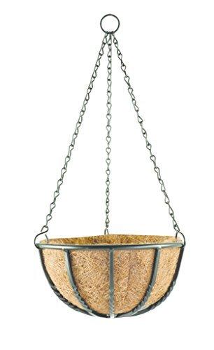 Pflanzampel Metall Blumenampel aus beschichtetem Metall in Schmiede Eisen Look - 4 verschiedene Größen - inkl verzinkter Kette zum Aufhängen - 4 verschiedene Größen erhältlich - mit hochwertigem Kokos Inlay auf der Innenseite (6 Liter ( 30 cm ))