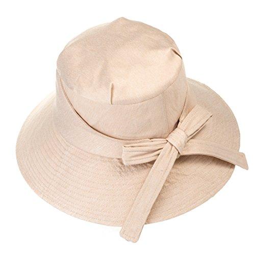 Faltbare Damen Sonnenhut - Sommer Bogen Knoten Einfarbig Baumwollstoff Hut Breitkrempigen UV-Schutz Sonnenhut