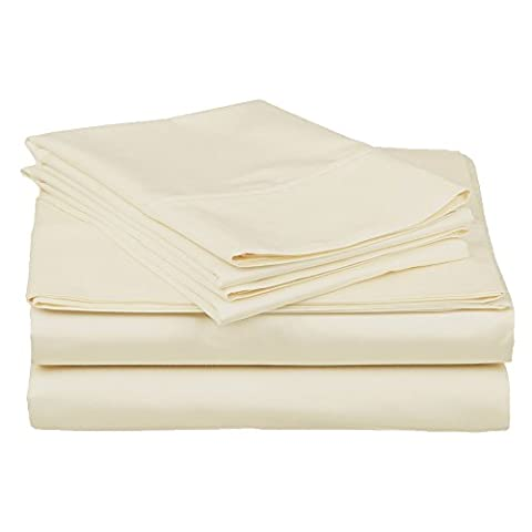 Superior 100% Premium Long-Staple Combed Cotton 400 Thread Count Deep-Fitting Pocket Soft and Smooth 4 Piece Sheet Set, Eastern King, Solid