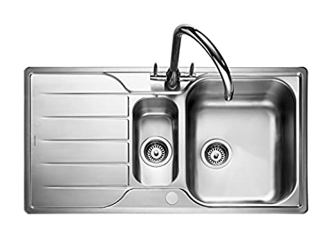 Rangemaster Sink collection - Available in a variety of Styles, Sizes and Finishes (Michigan Overmounted Inset Sink - Stainless Steel - 1.5 Bowl (Reversible) - 950mm x 508mm)