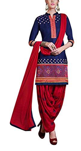 Am Fashion Women's Cotton Salwar Suit Set (Red)