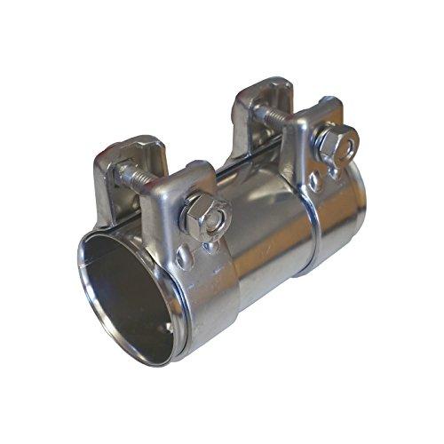 Tubo de escape del conector 50mm de diámetro x125mm Acero Inoxidable Universal Conector + 2x Abrazadera de escape 54,5