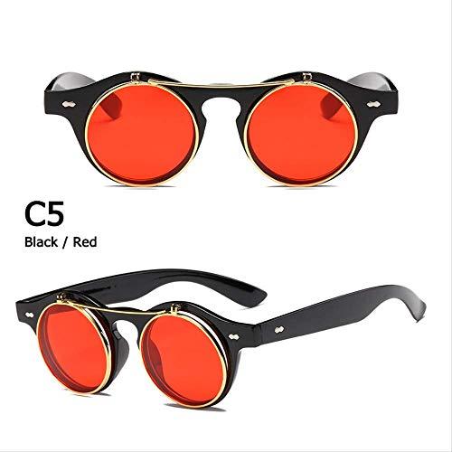 MJDL Mode Vintage Runde Steampunk Flip Up Sonnenbrille Klassische Doppelschicht Clamshell Design Sonnenbrille C5 Schwarz Rot