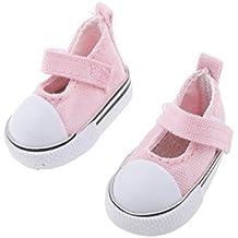 Juegos de Muñecas Fashio Par Zapatos de Lona de Correa del Tobillo para 1/6 BJD - Rosado