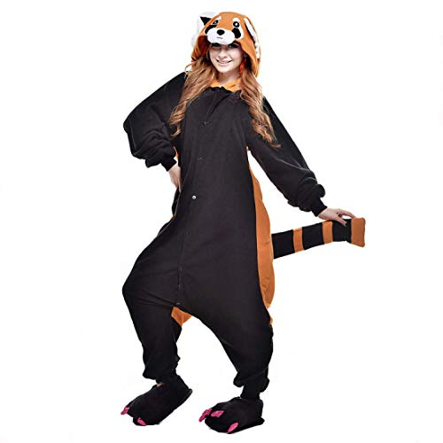 idung Animal Erwachsene Schlafanzüge Karneval Onesies Jumpsuits Anime Carnival Spielanzug Partei Kostüme Waschbär Spielanzug Kostüme Weihnachten Nachtwäsche ()