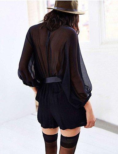 GSP-Combinaisons Aux femmes Manches Longues Sexy Polyester Transparent Micro-élastique black-xl