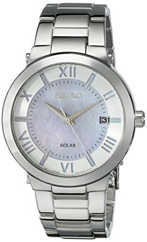 Seiko Solar Reloj Deportivo de La Mujer Con Una Hermosa Violet-Pink madre de Pearl Dial SNE885