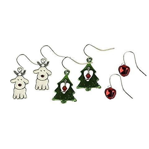 Lux Accessoires Jingle Bells de Noël pour chien Motif renne de Noël Arbre Cœur Plusieurs Dangle boucle d'oreille