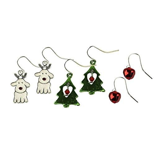 LUX Zubehör Jingle Bells Weihnachten Hund Rentier Weihnachts Baum Herz mehrere baumeln Ohrring (Rentier Kostüme Niedliche)