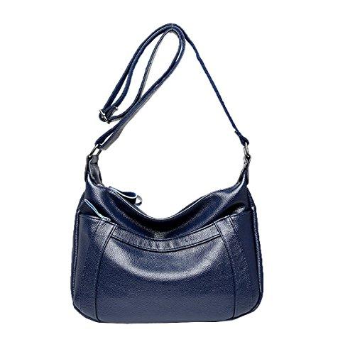 Frauen Mode Handtasche Pu-leder Crossbody Umhängetasche Für Dame Blue