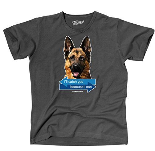 Siviwonder Unisex T-Shirt I´LL CATCH YOU - DEUTSCHER SCHÄFERHUND Hunde fun WILSIGNS Dark Grey