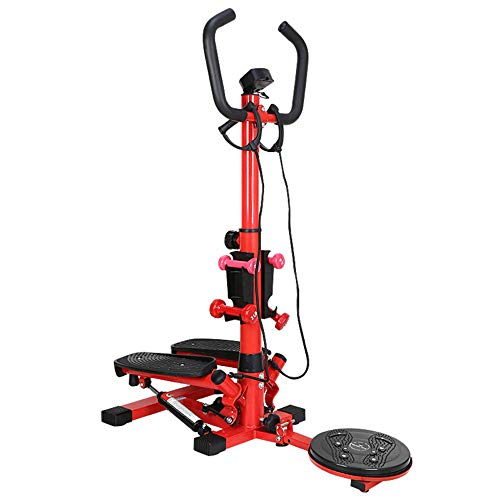 Melodycp 2 in 1 Arbeitsschritt Doble, 2 in 1 Feder Funktion Mini Stepper Home Trainer mit LCD-Display und Griff Twister Body Mini Bike rot