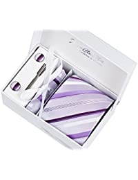 Coffret Cadeau Ensemble Cravate homme, Mouchoir de poche, épingle et boutons de manchette Rayures Violettes
