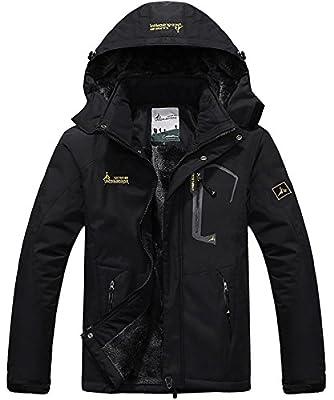 donhobo Mens Waterproof Jacket Winter Warm Fleece With Hood Windproof Camping Hiking Coat
