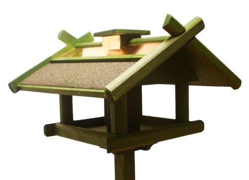 Vogelhaus Futterhaus Futterstelle für Tiere Kupferdach massiv mit Ständer 155cm