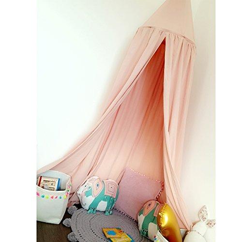 Baby Betthimmel Baldachin Baumwolle Rund Moskitonetz Insektenschutz Kinder Prinzessin Spielzelte Dekoration fürs Kinderzimmer (Rosa) - 2